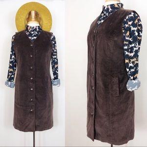 Vintage Corduroy Button Down Dress • sz 8P